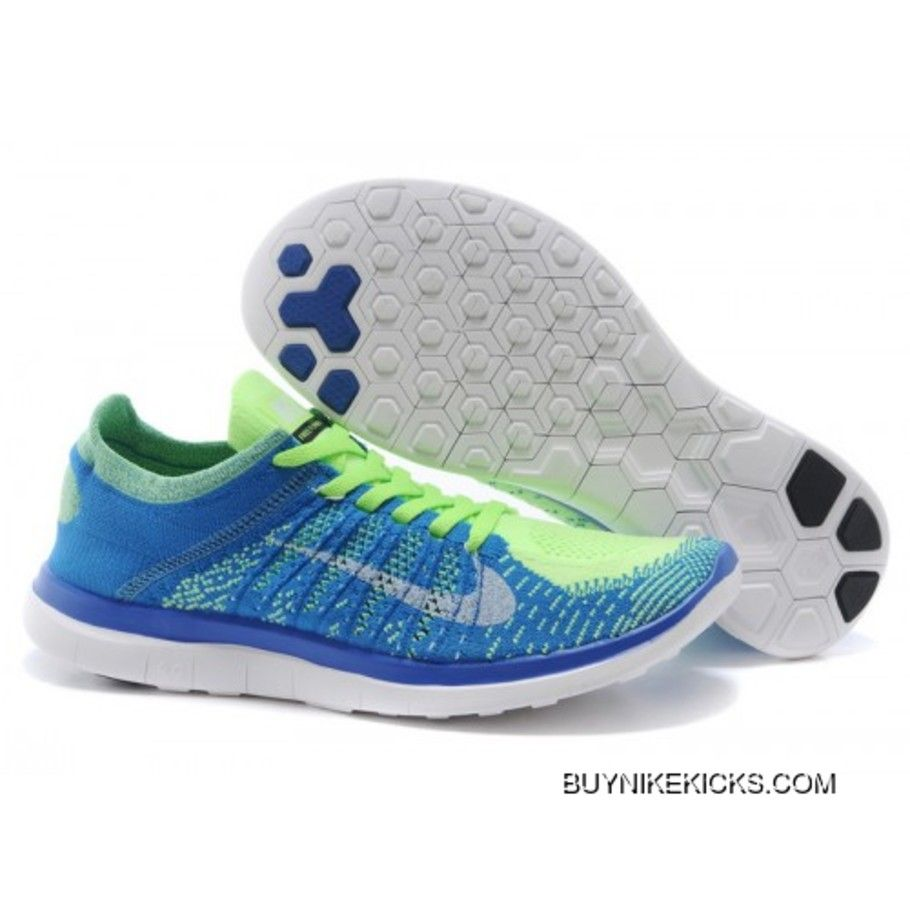cheap for discount c9109 77a68 2019 的 Mens Nike Free 4.0 Flyknit Shoes Blue/Green Copuon ...