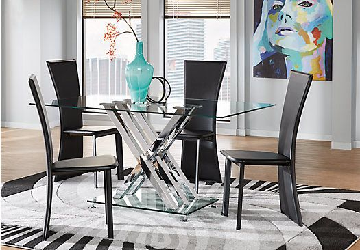 Empire Place Metal 5 Pc Rectangle Dining Set With Glass Top   Dining Room  Sets Metal