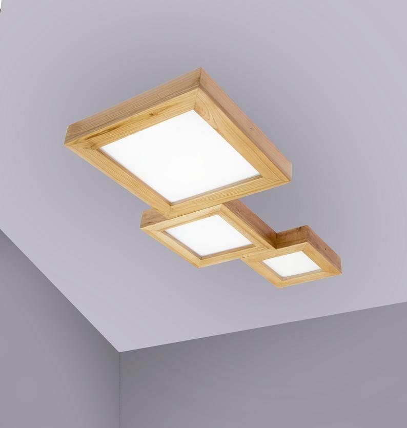 Ceiling Wood Led Lamp Loft Wooden Light Loft Designer Etsy Led Lighting Bedroom Wooden Light Ceiling Light Design