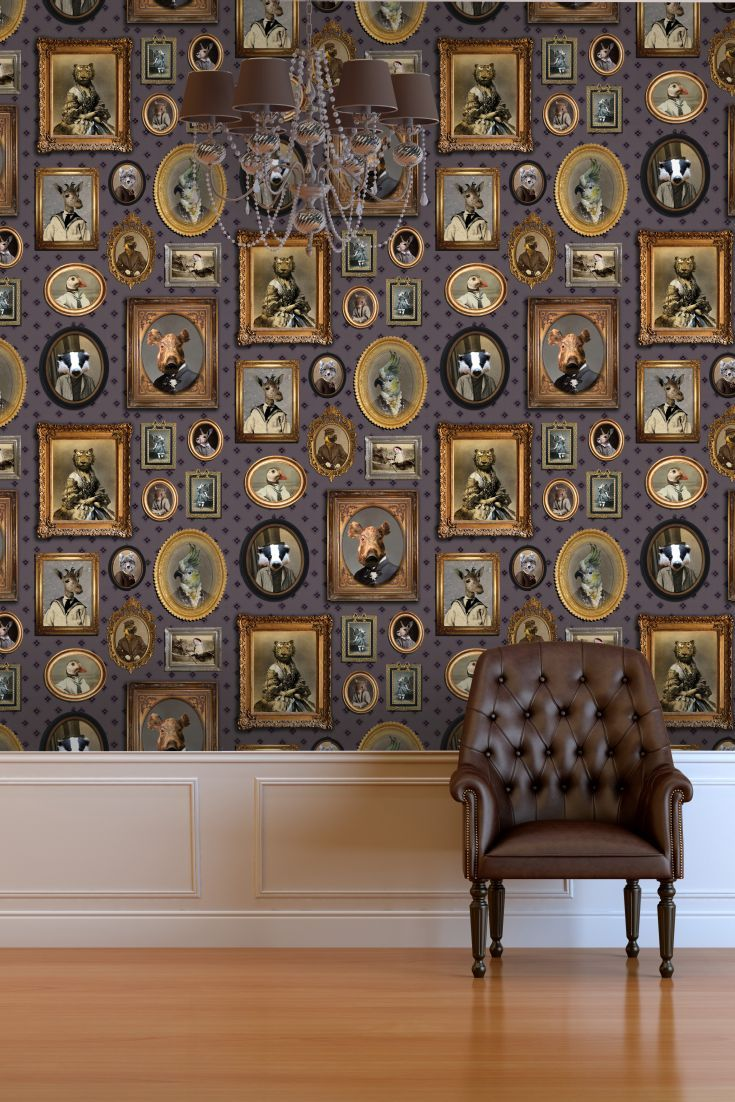 From the designer Charlotte Cory, this quirky Victorian inspired wallpaper  features ornate frames and animals