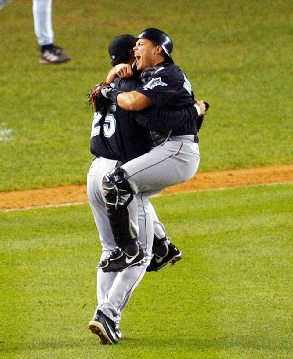 52125f29a ... Jersey Florida Marlins 250 Pitcher Josh Beckett and catcher Ivan  Rodriguez celebrate the Florida Marlins victory over the NY Yankees ...