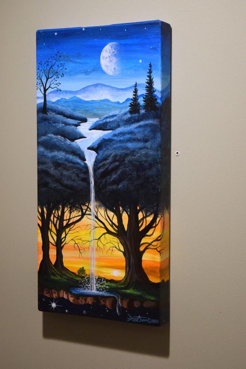 Blue dream tree/surreal acrylic painting/tree art/