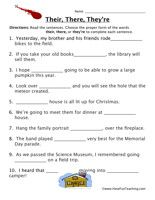 Homophone Worksheet - Their, There, They\'re | Worksheets, Teaching ...