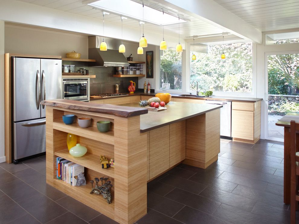 Dining Room Ideas, Marvelous Sturdy Wooden Kitchen Island With Storage On  Brown Floor Tiles In Mid Century Eichler Home Design With Yellow Pendant  Lamps And ...