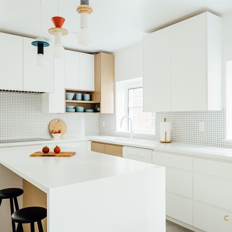 Clean Modern Kitchen Design Playful Pendant Lights All White