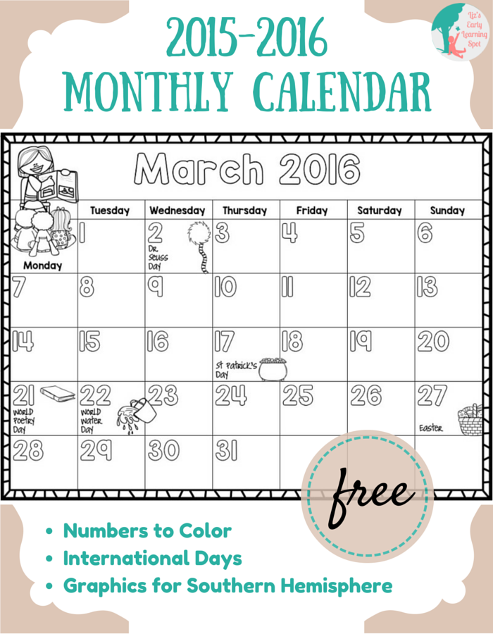 FREE 2015-2016 Monthly Calendar for Kids | Learning, Free and Homeschool