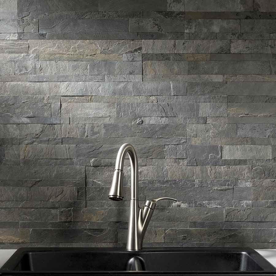 Aspect Backsplash Stone Tile in Iron Slate Aspect