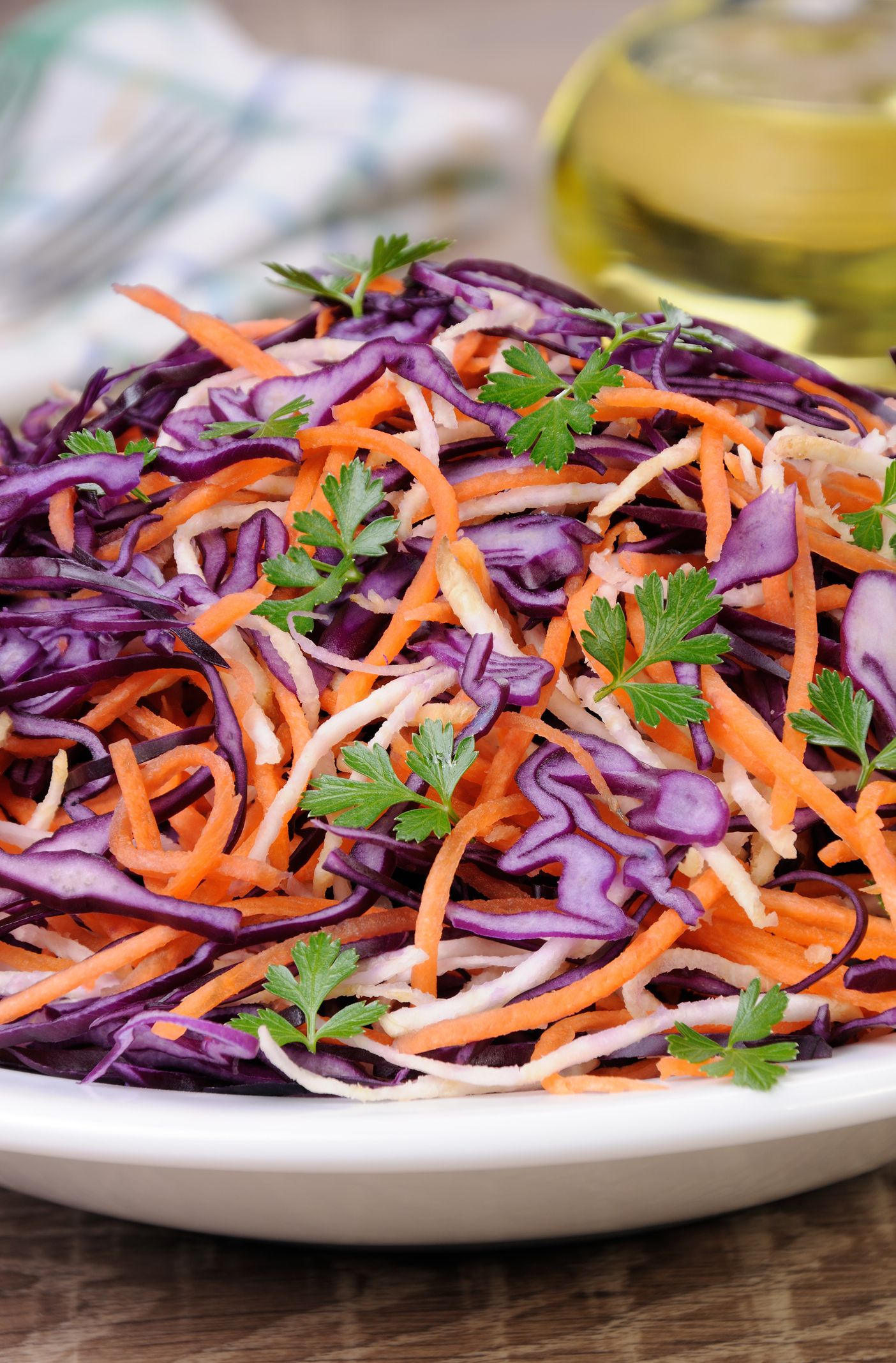 This colourful slaw delivers plenty of cruciferous phytochemicals thought to guard against cancer, heart disease and stroke. Nutrition: 76 calories, 1 g protein, 2 g fibre per serving.