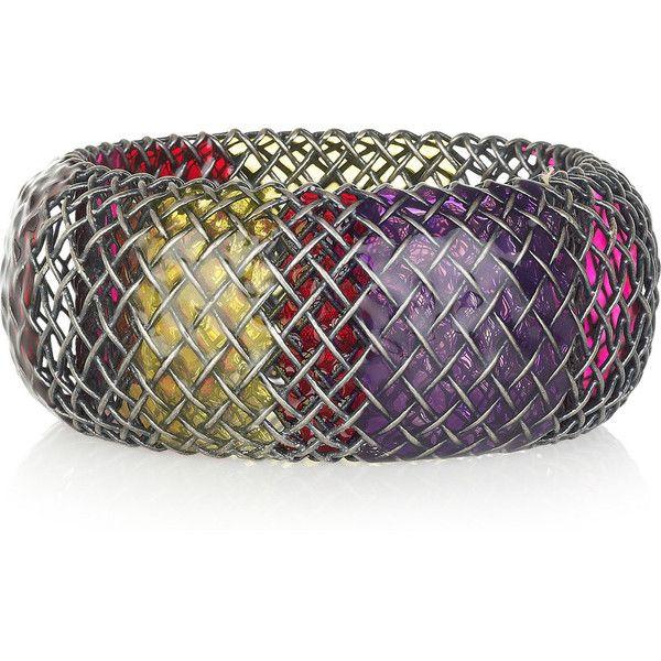 Bottega Veneta Enameled oxidized-silver cage bracelet ❤ liked on Polyvore