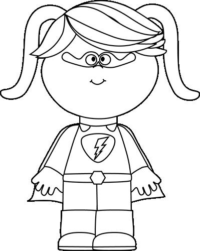 Black And White Little Girl Superhero Superhero Coloring Pages Superhero Coloring Superhero Preschool