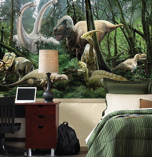 Amazing Bedroom Brings Alive The Juric Age With Dinosaur Themed Wall Art