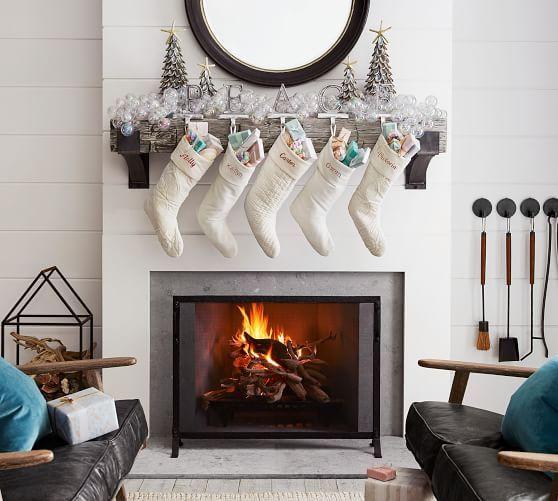Abalone Shell Christmas Tree Large Fireplace Set