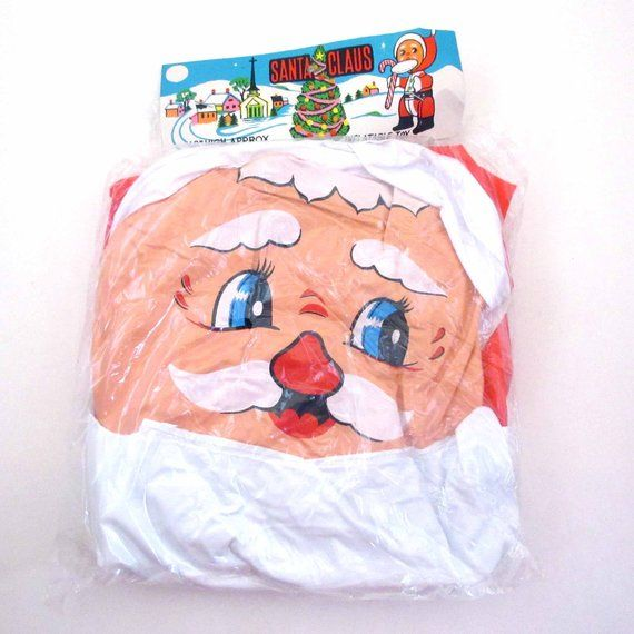 Vintage Christmas Inflatable Blow Up Vinyl Santa Claus in Original