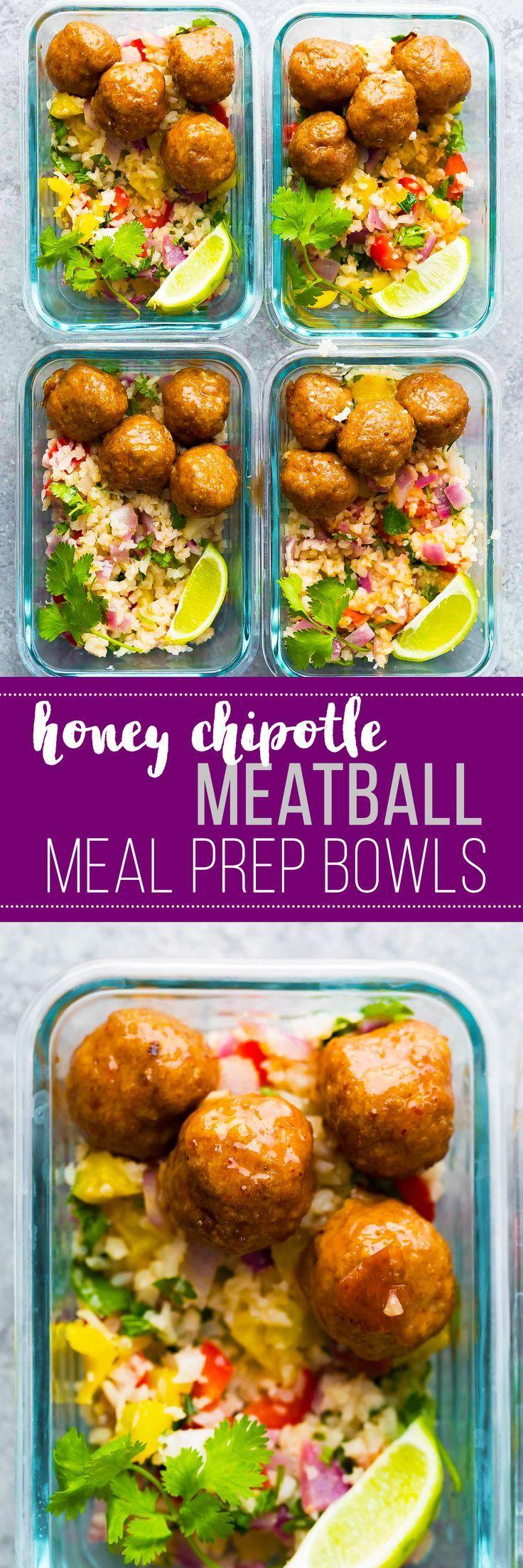 Honey Chipotle Meatball Meal Prep Bowls Recipe Meal Prep Bowls