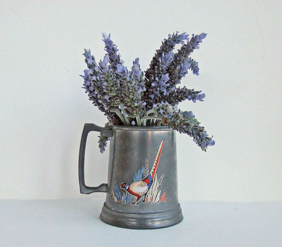 Pewter Mug with Hand Painted Pheasant