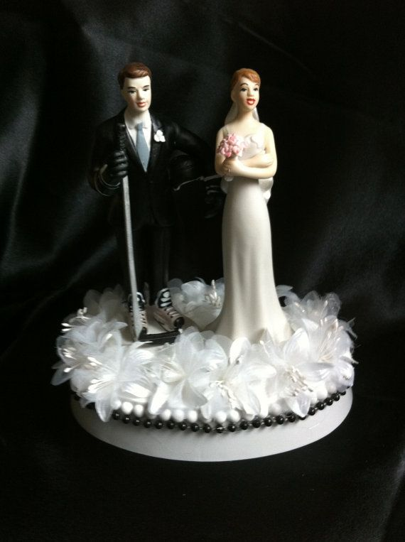 Hockey player groom and bride wedding cake topper by 1topper
