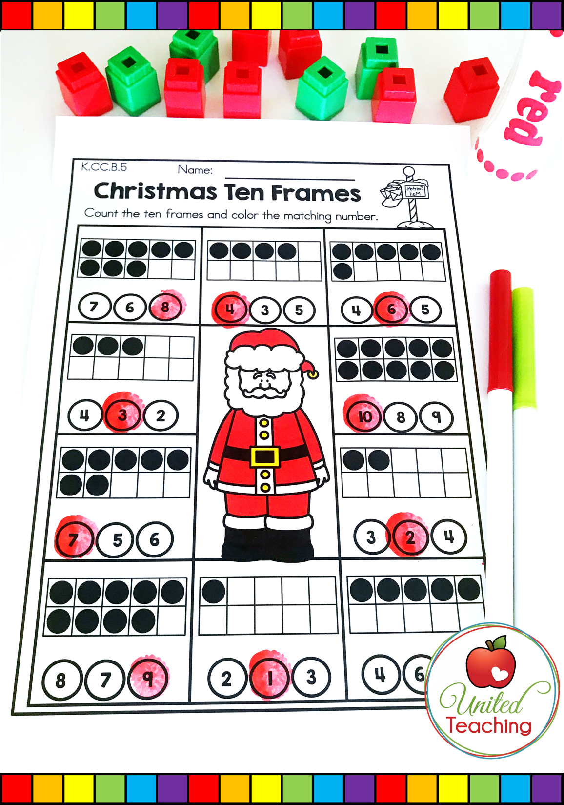 Christmas Math Activity To Help Students With Numbers 1 10