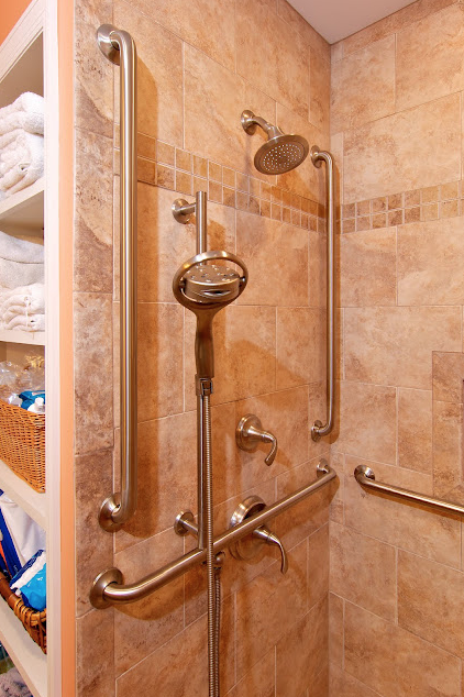 Accessible bathroom Control Panel Required horizontal grab bars are ...