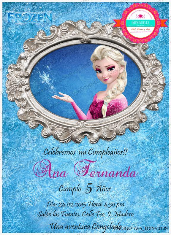 Invitaciones Imprimibles Frozen Elsa, para cumpleaños, reuniones, etc disponible para su