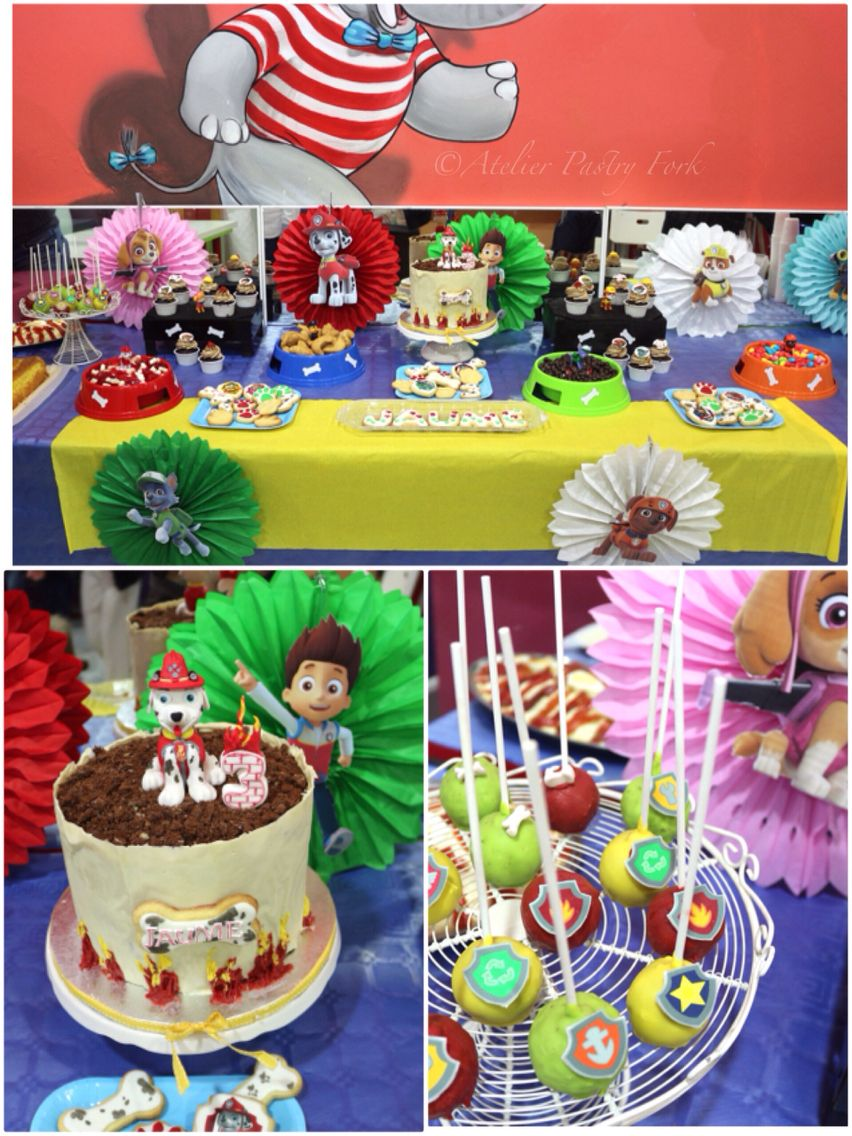Mesa dulce patrulla canina by pastry fork mallorca paw for Mesas de dulces infantiles