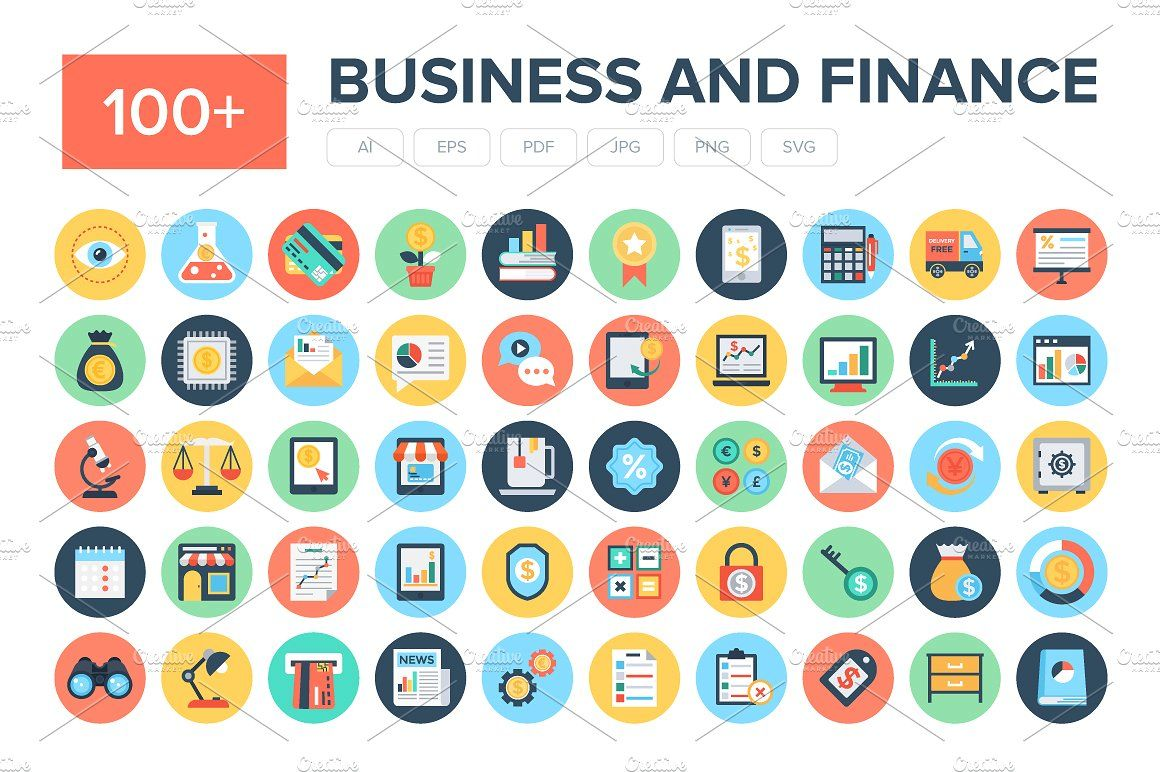100+ Flat Business and Finance Icons Marketing icon