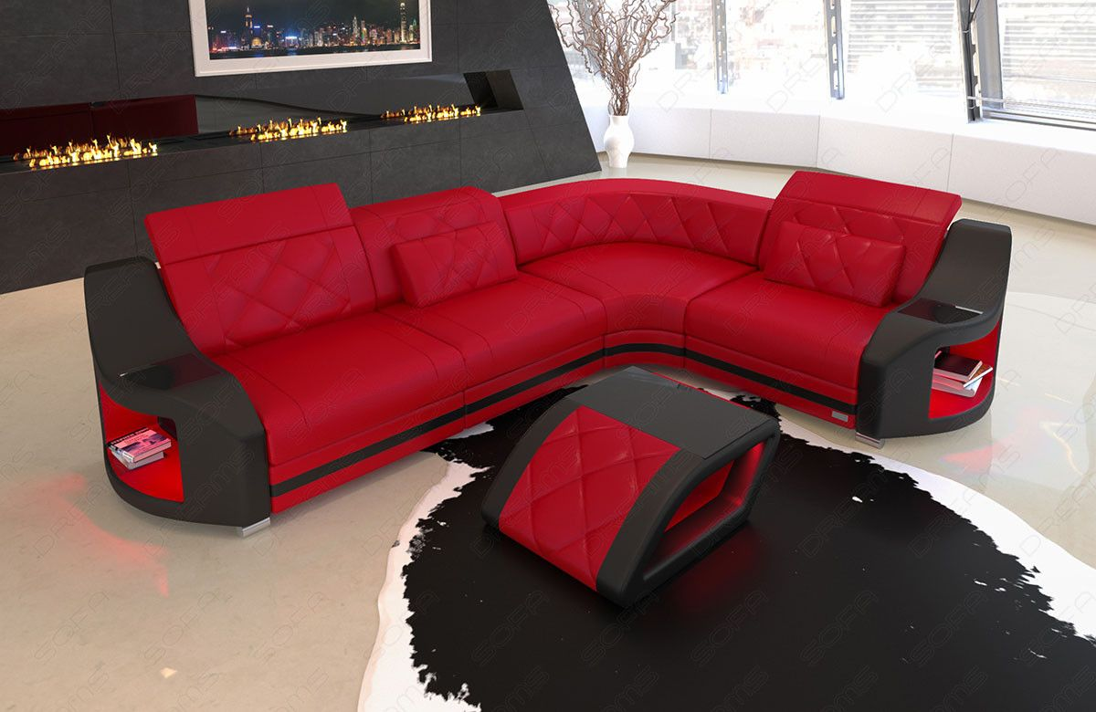 Leder Ecksofa Genua L Form Mit Led Beleuchtung Sectional Couch Sofa Couch
