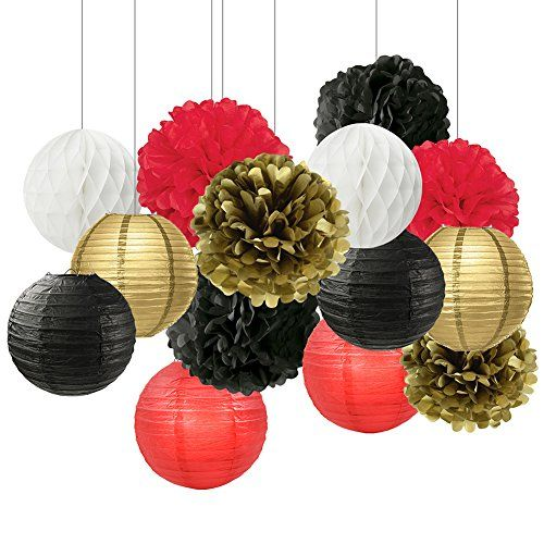 Black White Red Gold Tissue Paper Pom Pom Paper Flower Ba Gold Party Decorations Paper Flower Ball Gold Graduation Party