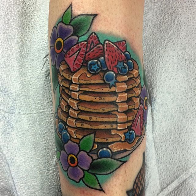 Fruits pancakes tattoo