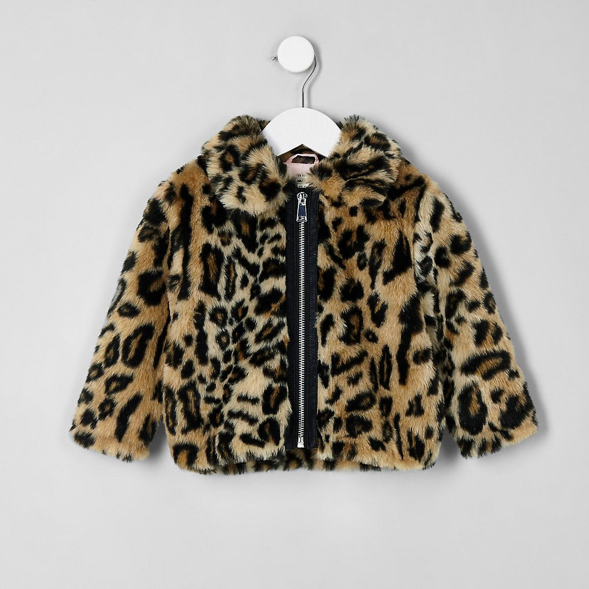Mini Girls Brown Leopard Print Faux Fur Coat Leopard Print Faux
