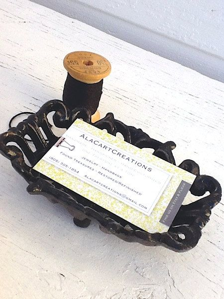 Jet Black Business Card Holder Cast Iron French By Alacartcreations