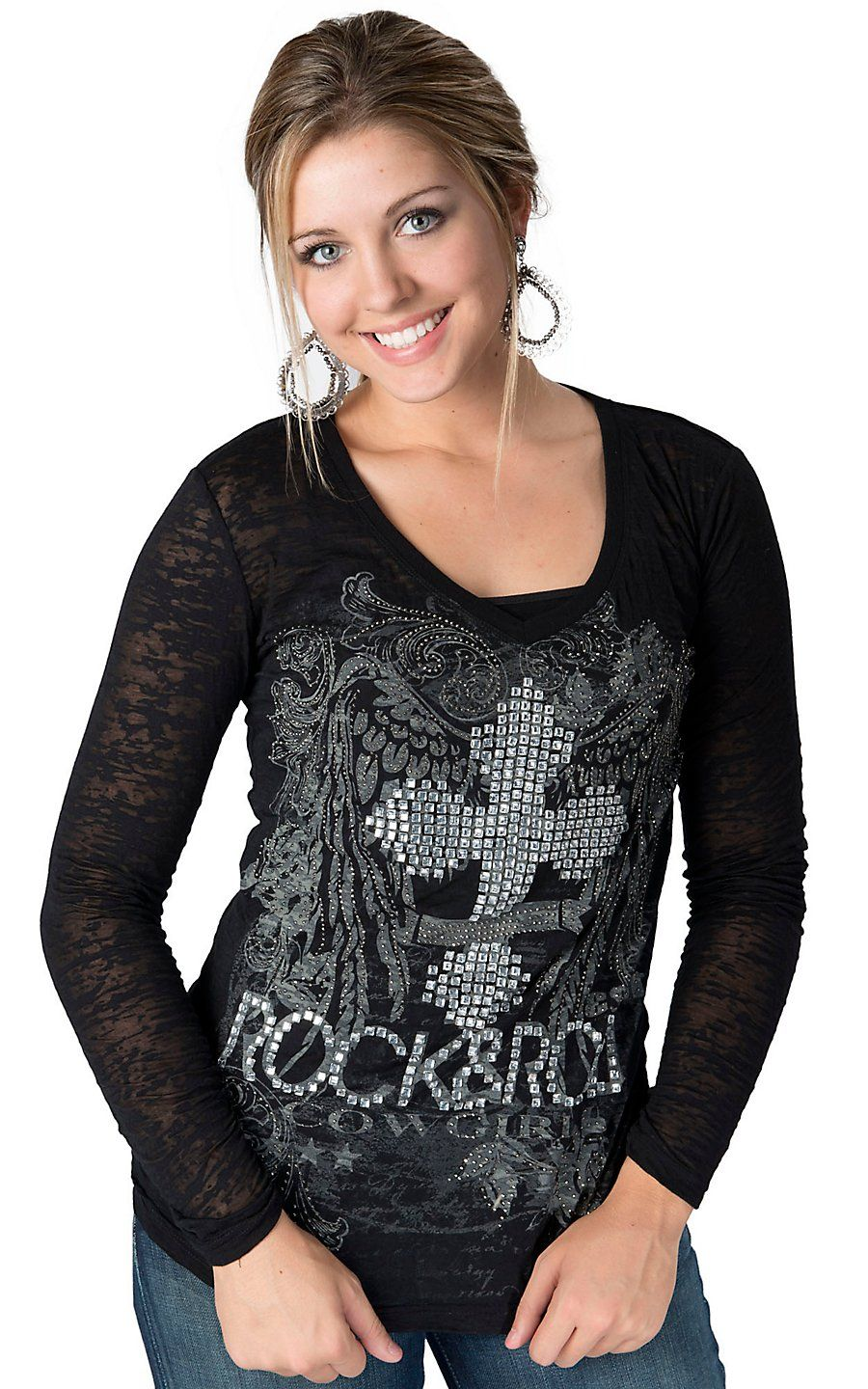 Rock u roll cowgirl womenus black with glass stone cross