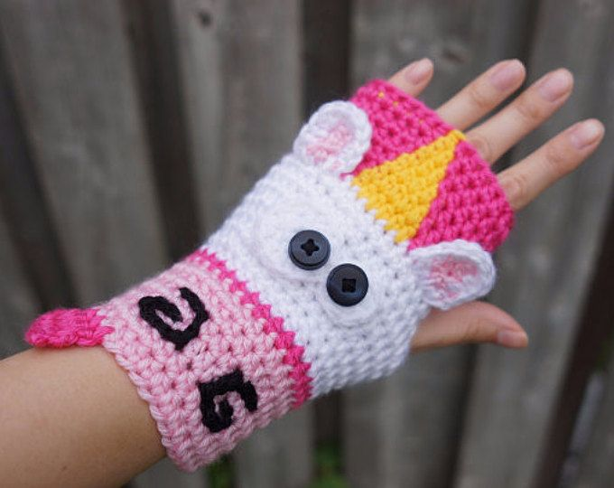 PATTERN ONLY Crochet Unicorn fingerless gloves, cute animal ...