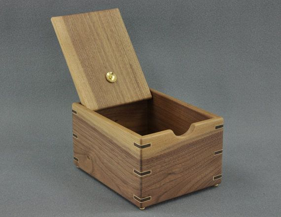 Wooden Recipe Box For 3x5 Recipe Cards Solid Black Walnut By Tyler