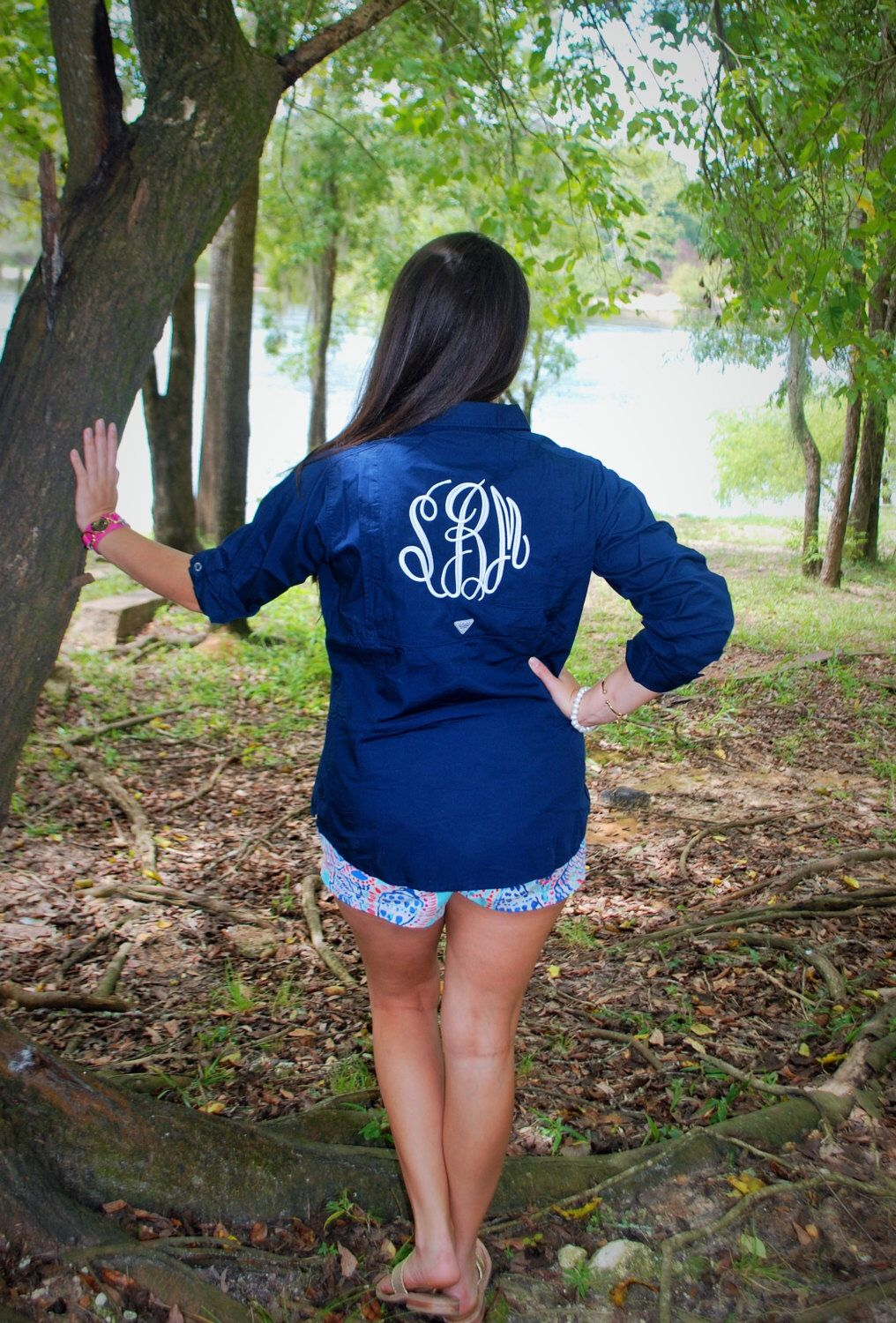 Preppy Monogrammed Columbia PFG Fishing Shirt Cover