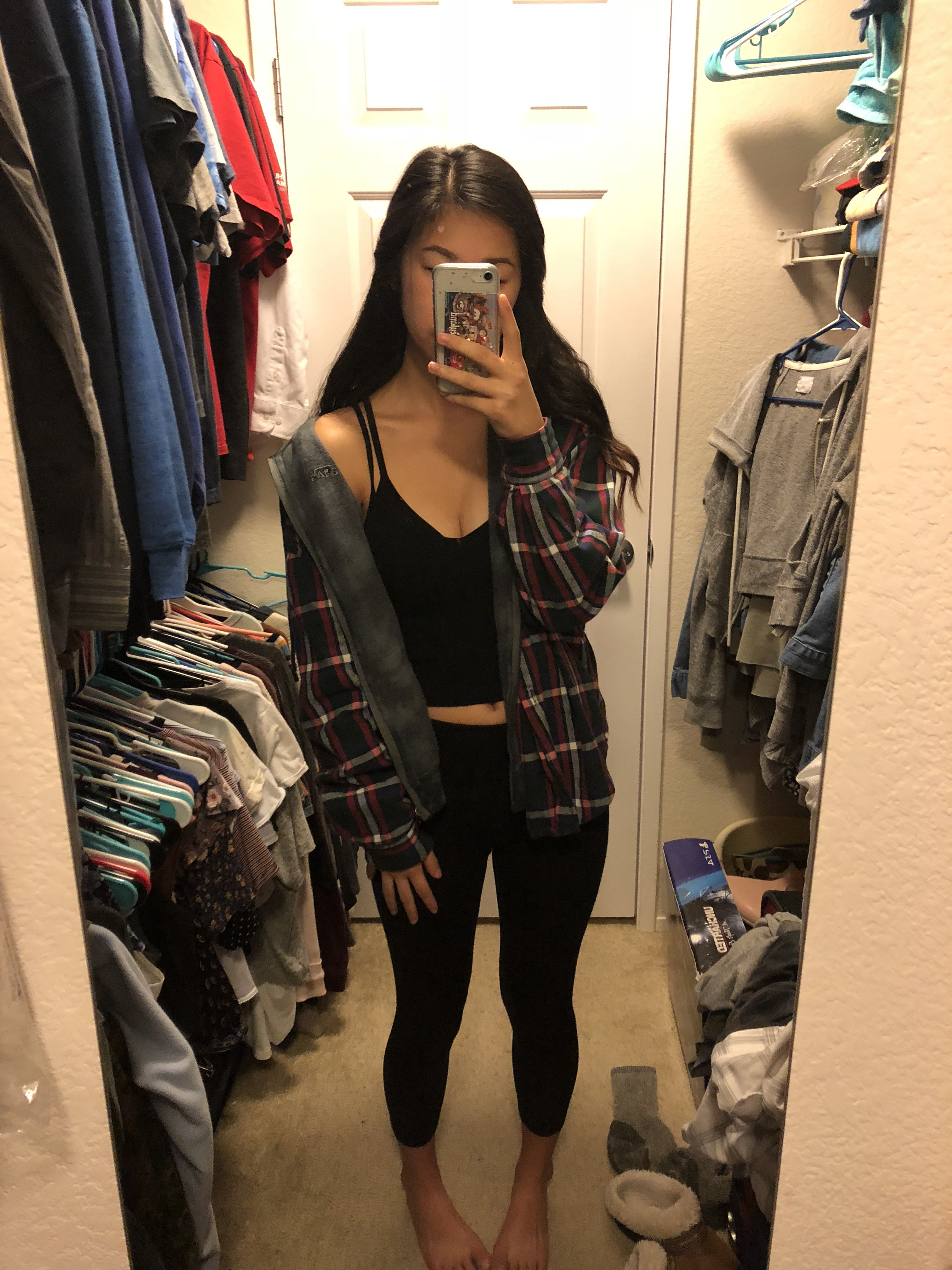 All Black Leggings And Tank Top Layered With A Band Hoodie And An Oversized Flannel Cute Outfits With Leggings Black Leggings Outfit Flannel And Leggings [ 4032 x 3024 Pixel ]