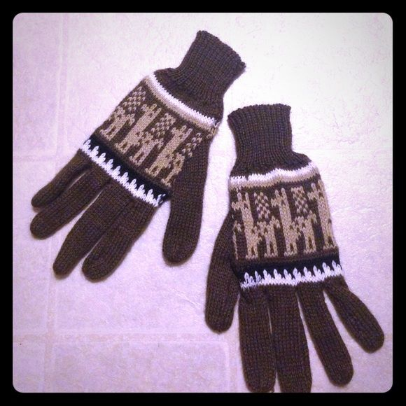 NWOT Alpaca Knit Gloves These NWOT brown with print alpaca gloves are ultra soft and incredibly cute! Open to reasonable offers presented in offers! Other