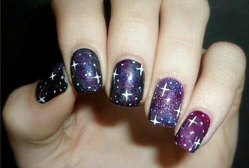 Star Galaxy Nail Art Nail Art Pinterest Galaxy Nail Art And