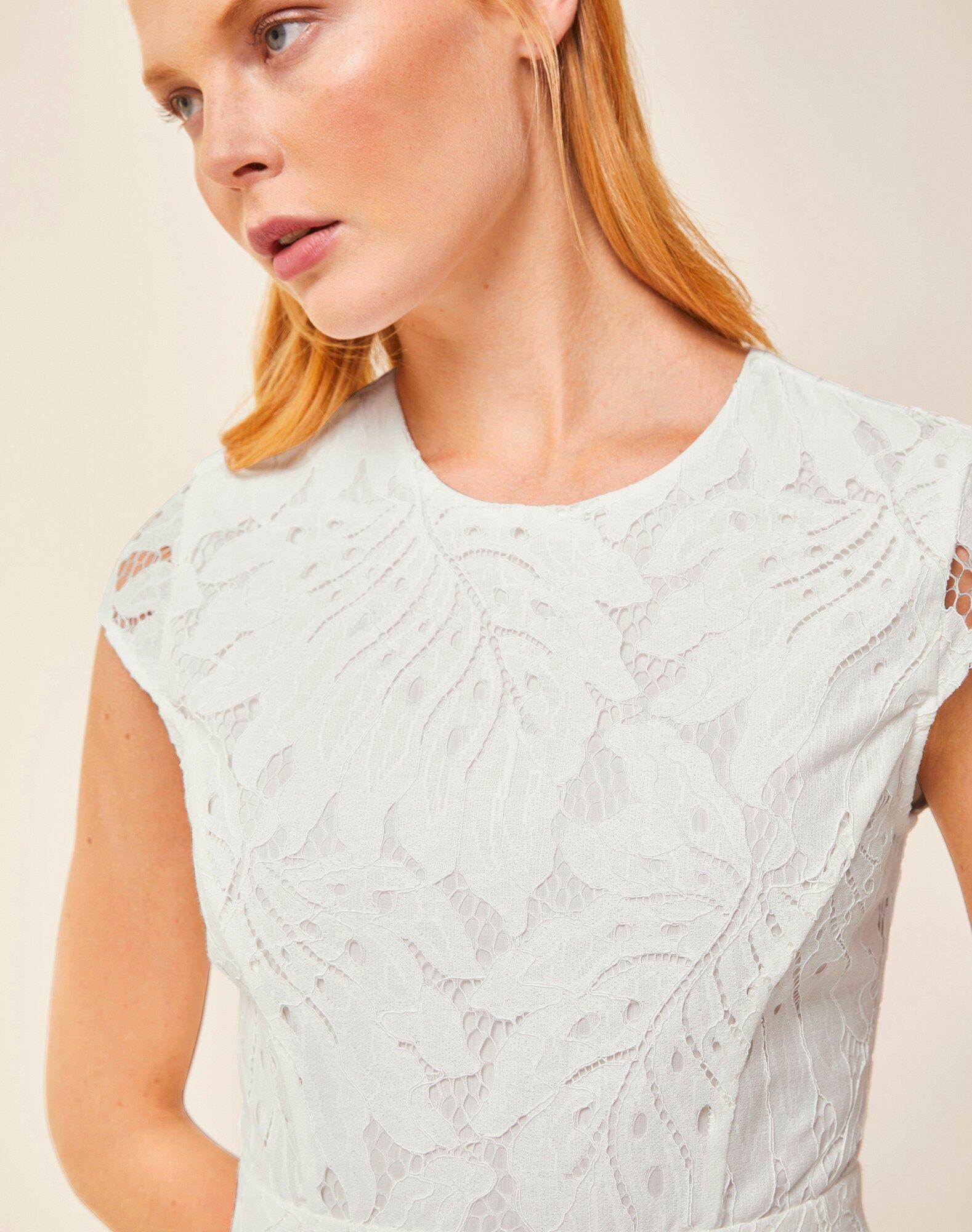 IVY & OAK Spitzenkleid Damen, Weiß, Größe 36 #asymmetrischerschnitt IVY & OAK Spitzenkleid Damen, Weiß, Größe 36 #asymmetrischerschnitt