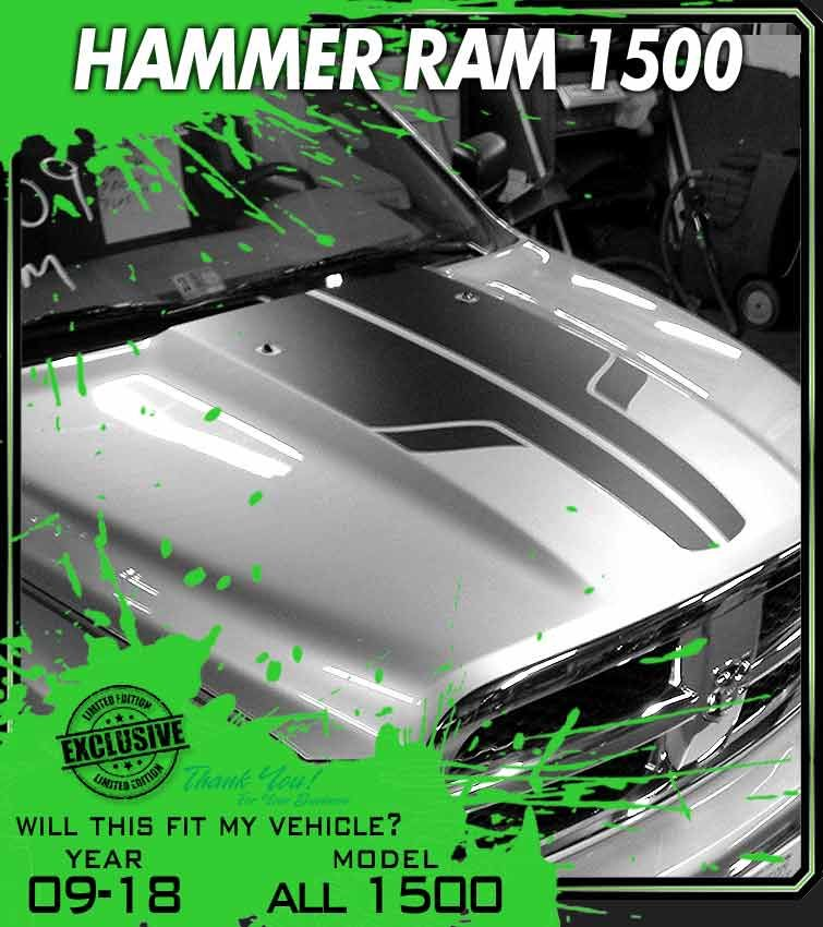 HAMMER 2009 2018 Dodge Ram 1500 Truck Hood Stripe