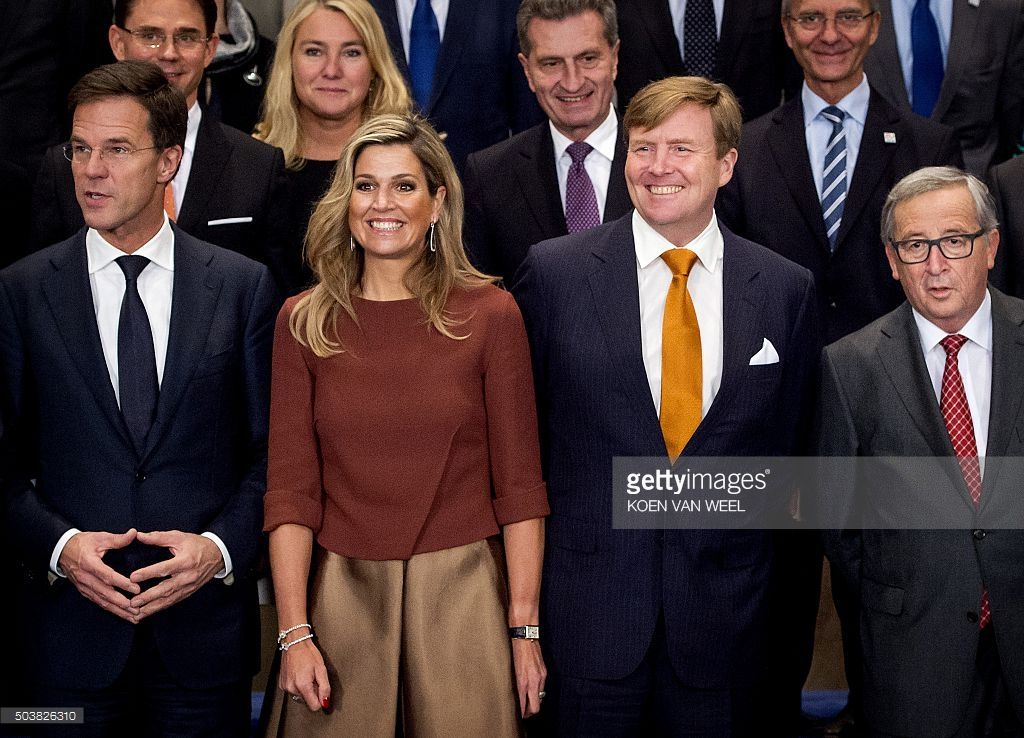 Maurits Hendriks Netherlands Prime Minister Mark Rutte L: Dutch King Willem-Alexander And Queen Maxima Pose With