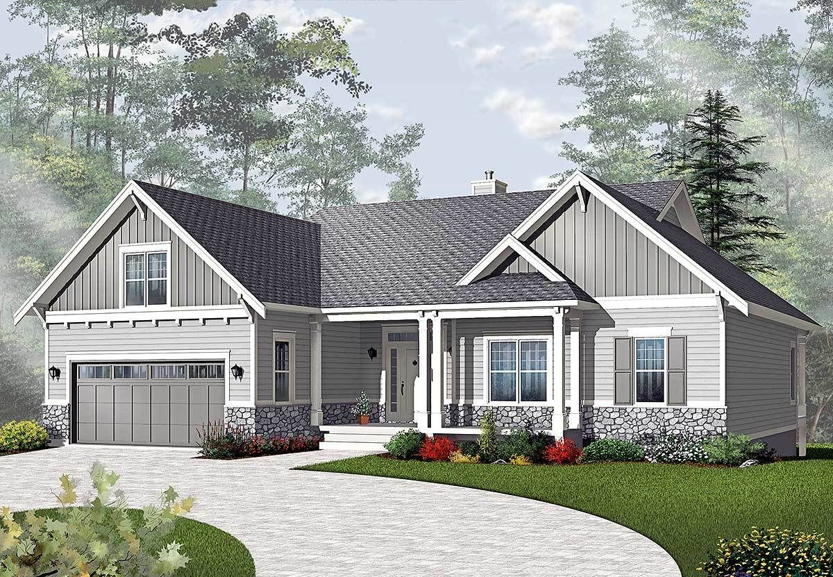 Plan 21940DR: Airy Craftsman-Style Ranch #craftsmanstylehomes