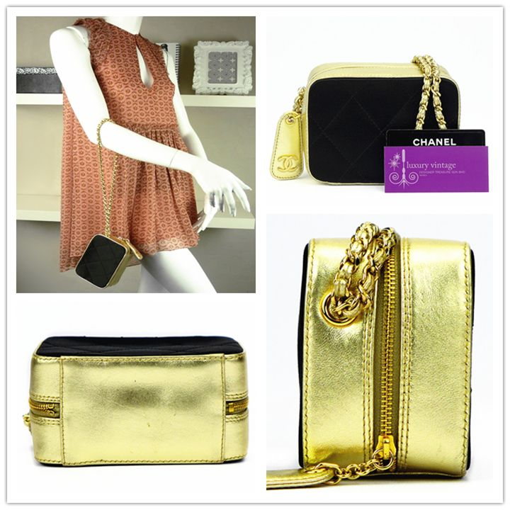 c5737fa40c5a CHANEL dinner bag black satin/gold colour leather with gold hardware good  conditions ref.code-(COTL-6)