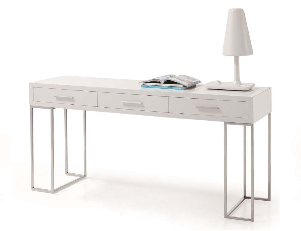 Sheldon Modern White Lacquer Desk Office space Pinterest