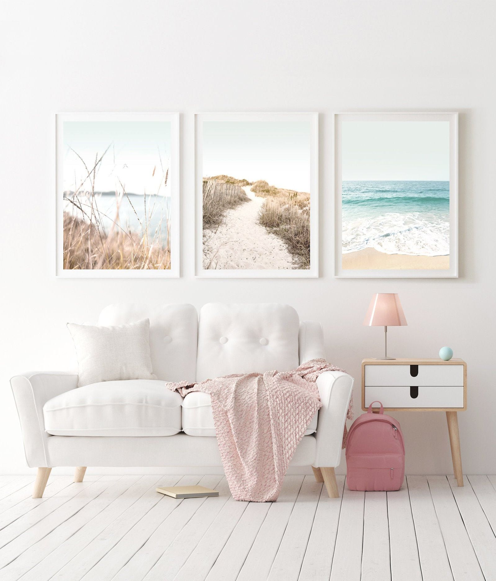 Beach Printable Art Set Of 3 Coastal Wall Art Pastel Beach