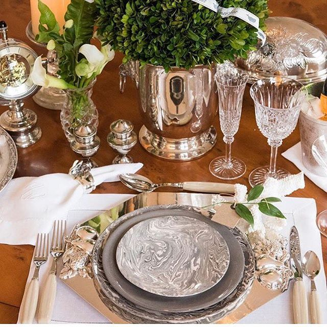 This setting could be used year round! Styled by Penny one of our Uber talented lifestyle contributors. To read more about this table setting ... & Silver white gray and green! This setting could be used year round ...