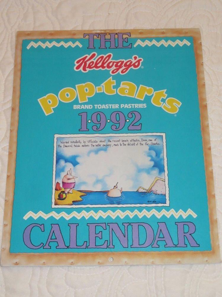 Vintage 1992 Pop Tarts Calendar Cartoon Dweezil Twins Cartoon