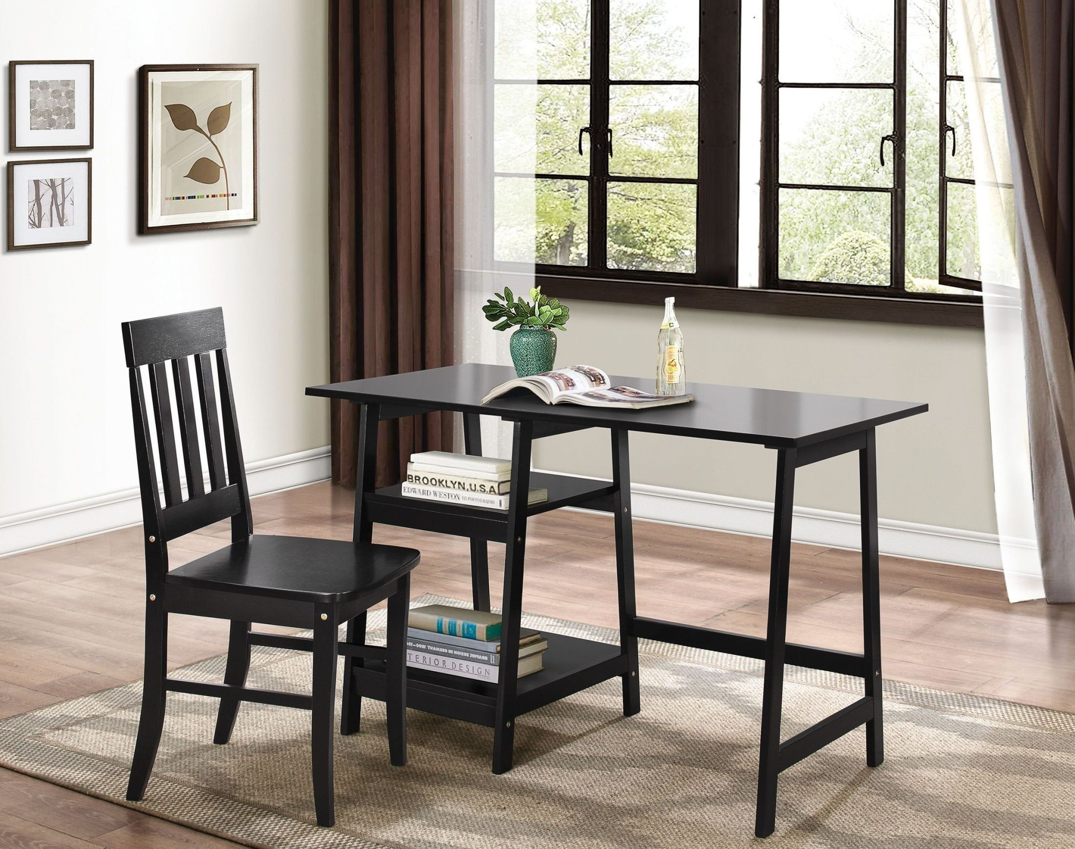 Desk and chair set home black