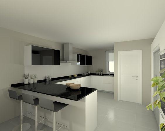 Modelo line e blanco encimera granito negro cocinas - Encimera granito blanco ...