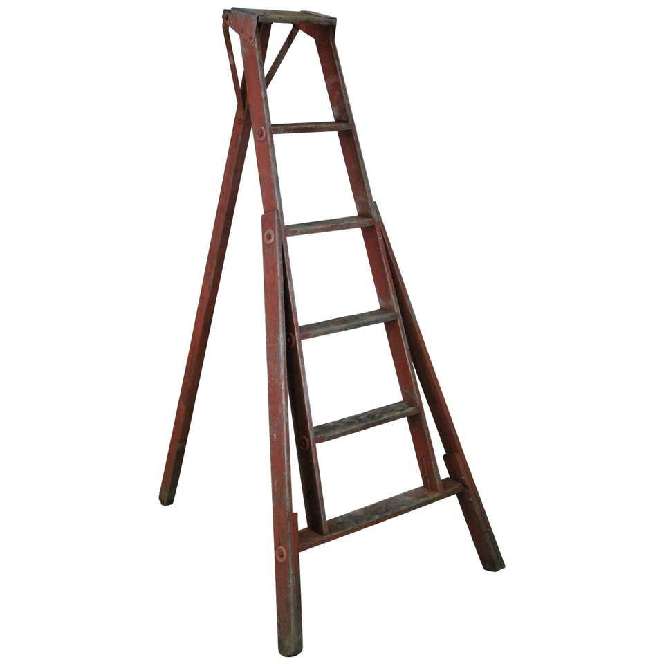 1940 Wooden Orchard Ladder In Old Paint 1 Wooden Ladder Ladder Decor