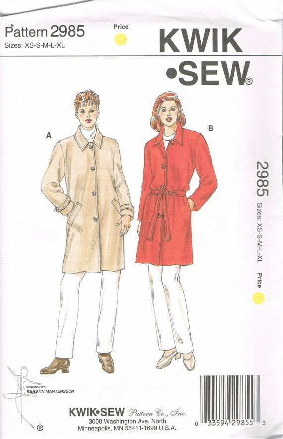 Size Xs Xl Misses Short Trench Coat Sewing Pattern Lined Button